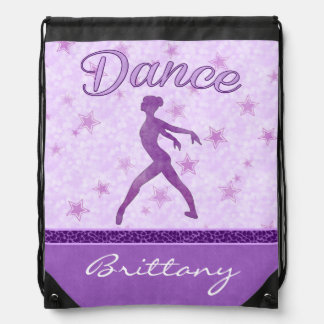 Purple Posing Dancer with a Cheetah Print Stripe Drawstring Bag
