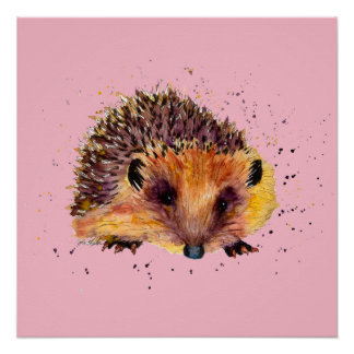 purple poster with handpainted hedgehog