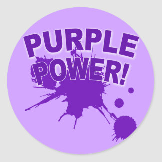 Purple Power with a Big Splat of Paint Classic Round Sticker