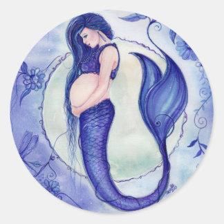 Purple Pregnancy Baby mermaid  stickers By Renee