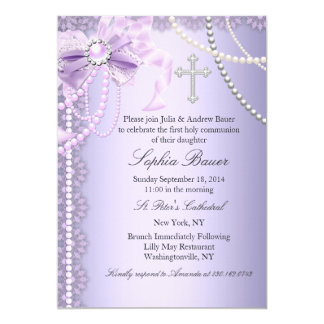 "Purple Pretty Pearl Bow Cross First Holy Communion 5"" X 7"" Invitation Card"