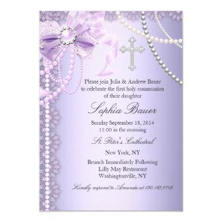 "Purple Pretty Pearl Bow Cross First Holy Communion 5"" X 7"" Invitation Card"