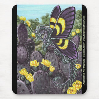 Purple Prickly Pear Cactus Dragon Fly Mousepad