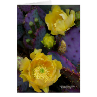 Purple prickly pear opuntia cactus yellow flowers card