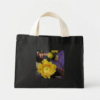 Purple prickly pear opuntia cactus yellow flowers mini tote bag