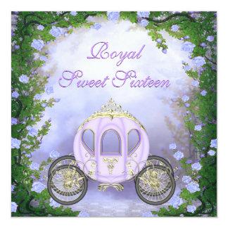 Purple Princess Carriage Enchanted Sweet 16 Card