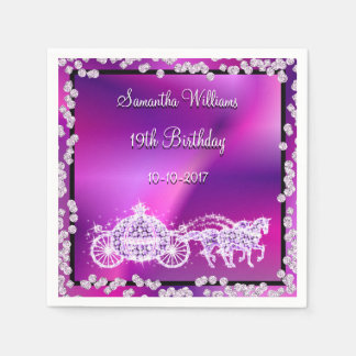 Purple Princess Coach & Horses 19th Birthday Disposable Napkins