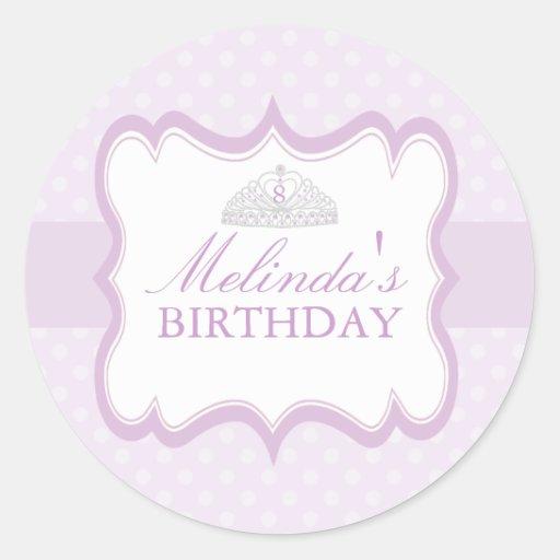 Purple Princess Tiara Girls Birthday Sticker