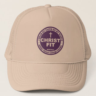 Purple print Christ Fit cap