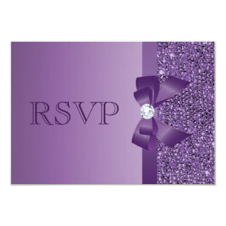 Purple Printed Sequins, Bow & Diamond RSVP Wedding Card