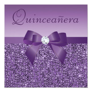"Purple Printed Sequins & Bow Quinceanera 5.25"" Square Invitation Card"