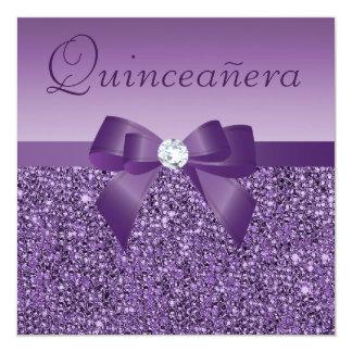 "Purple Printed Sequins & Bow Quinceanera 5.25"" Square Invitation Card"