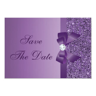 "Purple Printed Sequins Wedding Save the Date 3.5"" X 5"" Invitation Card"