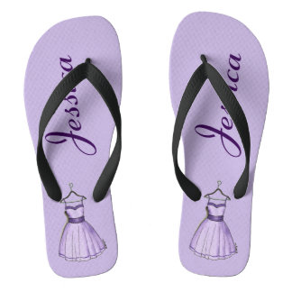 Purple Prom Fifties Vintage Party Dress Fashion Flip Flops