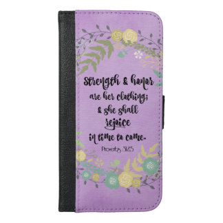 Purple Proverbs 31 Bible Verse Quote iPhone 6/6s Plus Wallet Case