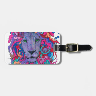 Purple Psychedelic Lion Luggage Tag