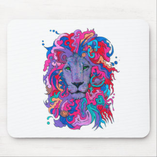 Purple Psychedelic Lion Mouse Pad