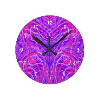 Purple psychedelic pattern round clock