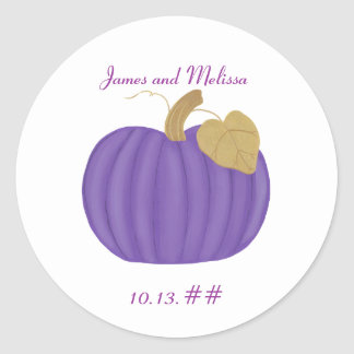 Purple Pumpkin Save the date wedding stickers