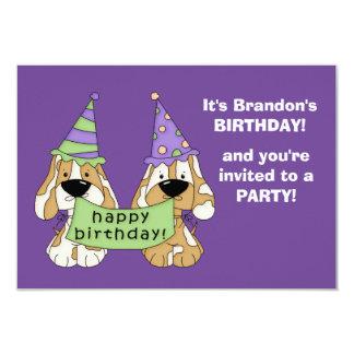 "Purple Puppies Kids Birthday Party 3.5"" X 5"" Invitation Card"