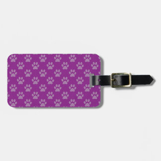 Purple puppy paws pattern luggage tag