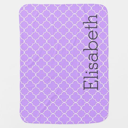 Purple Quatrefoil Custom Name Baby Blanket