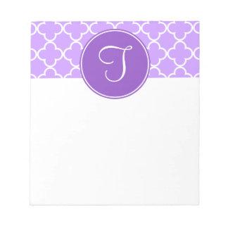 Purple Quatrefoil Monogram Notepad