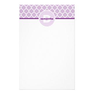 Purple Quatrefoil Monogram Personalized Stationery