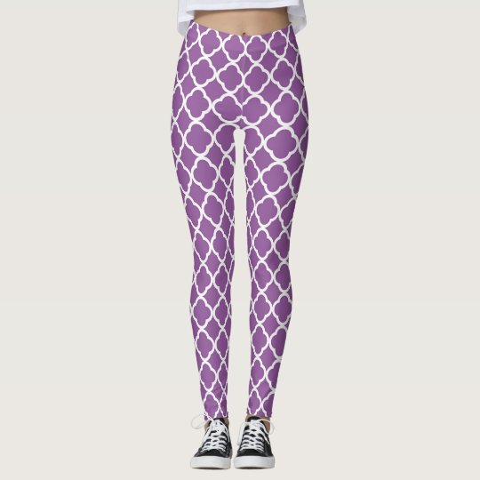 Purple Quatrefoil Pattern Leggings
