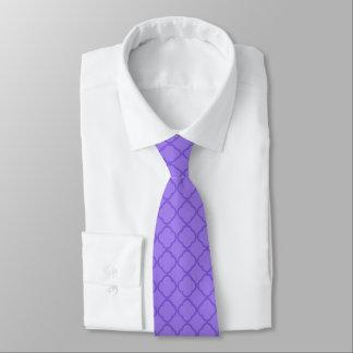 Purple Quatrefoil Pattern Neck Tie