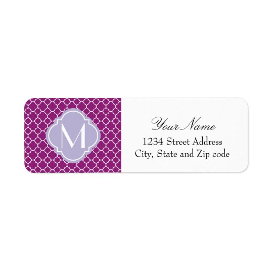 Purple Quatrefoil Pattern with Monogram