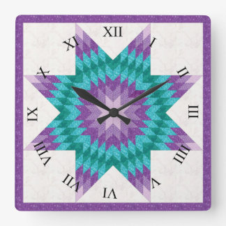 Purple Quilt Block Pattern Lone Star Square Wall Clock