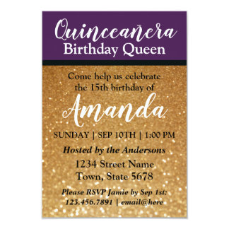 Purple Quinceañera Birthday Invitation Fun Glitter