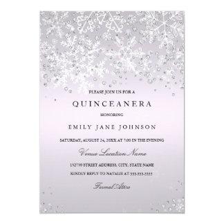 Purple Quinceanera Winter Wonderland Snowflakes Card