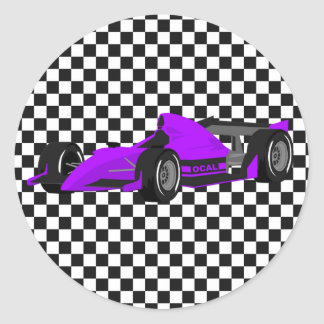 Purple Race Car Birthday Sticker