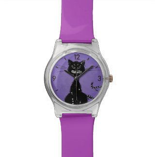 Purple Ragged Evil Black Cat Watch