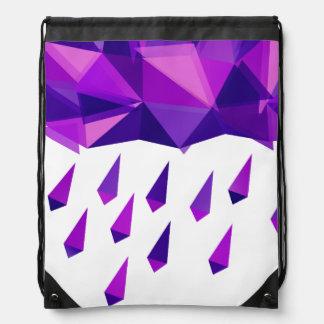 Purple Rain Contemporary Geometry Drawstring Bag