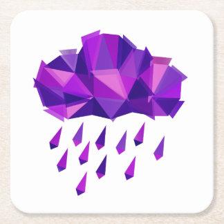 Purple Rain Contemporary Geometry Square Paper Coaster