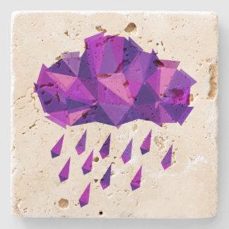 Purple Rain Contemporary Geometry Stone Coaster