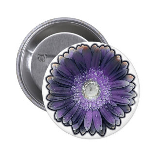 Purple Rain gerbera 2 Inch Round Button