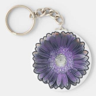 Purple Rain gerbera Basic Round Button Keychain