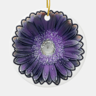Purple Rain gerbera Ceramic Ornament