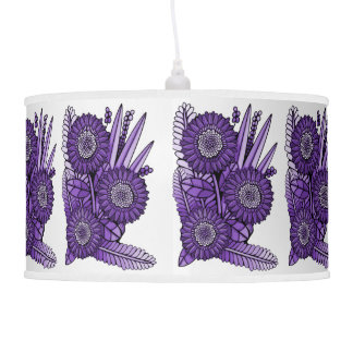 Purple Rain Gerbera Daisy Flower Bouquet Pendant Lamp