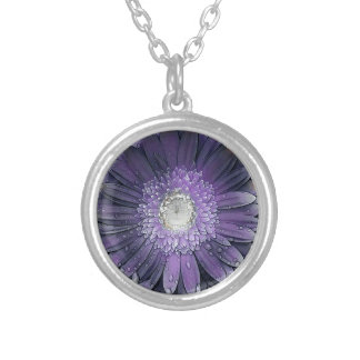 Purple Rain gerbera Silver Plated Necklace