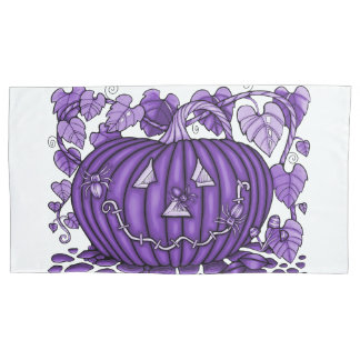 Purple Rain Spidery Pumpkin Pillowcase