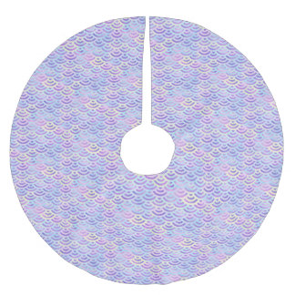 Purple Rainbow Mermaid Pastel Pattern Brushed Polyester Tree Skirt