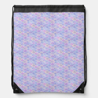 Purple Rainbow Mermaid Pastel Pattern Drawstring Bag
