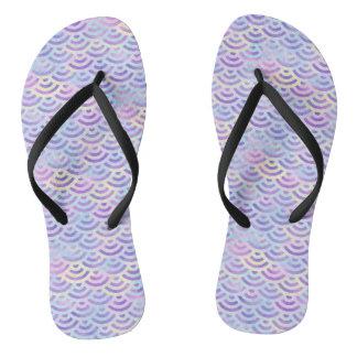 Purple Rainbow Mermaid Pastel Pattern Flip Flops