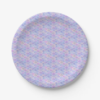 Purple Rainbow Mermaid Pastel Pattern Paper Plate