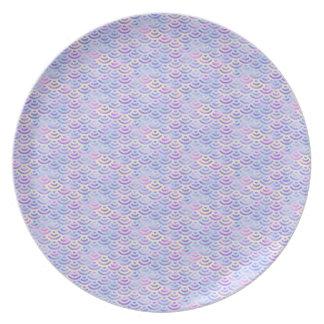 Purple Rainbow Mermaid Pastel Pattern Party Plate